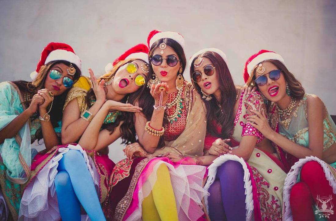 Indian bridesmaids duties   Bride's friends   BFF photos from Indian wedding   Indian bride with her bridesmaids wearing reflective sunglasses   Morvi Images