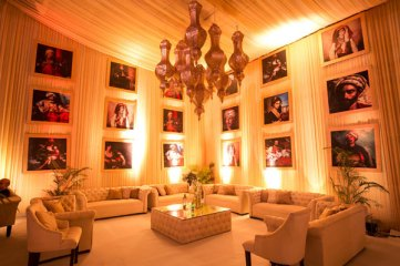 Ridhi Mehra's wedding photos | classic painting in wedding lounge with Moroccan lamps hanging
