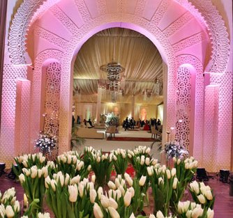 Ridhi Mehra's reception entry with tulips