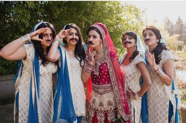 Indian bridesmaids duties | Bride's friends | BFF photos from Indian wedding | Indian bride and her friends with moustaches