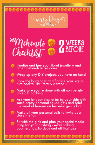 The ultimate Indian mehendi planning checklist | 2 weeks timeline for mehendi planning