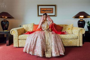 Wedding lehenga | Indian wedding dress | Indian bride | Pretty bride in a pink and gold wedding lehenga with work all over | wedding in Germany | Dream Diaries