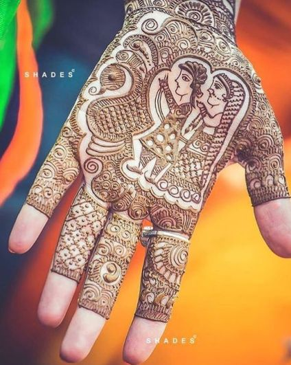 bridal mehndi design | Mehndi idea | Henna designs | Henna story with couple's love story | Navratra mehndi | Shades Photography