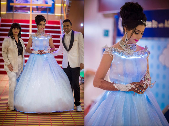 Neeta Lulla white gown with glowing lights   Adel and Sana Reception   Indian bride white gown for reception   top bun with loose curls and a tiara