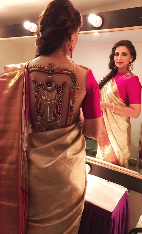 Latest blouse styles | new blouse styles to love | latest blouse designs for Indian brides | Pink Saree blouse with a sheer back and a goddess motif in dab work sonali Bendre