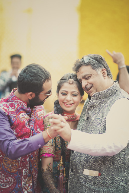 Purva and Sahil   Purva Indian bride dancing with her father and brother at her mehndi
