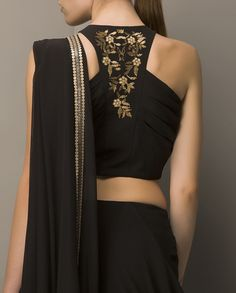 racer back style blouse in black