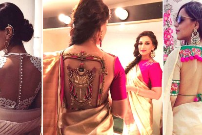 Latest blouse styles | new blouse styles to love | latest blouse designs for Indian brides | Pink Saree blouse with a sheer back and a goddess motif in dabka work sonali Bendre