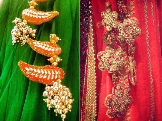 lehenga latkan ideas to spruce up your wedding lehenga | personalised latkans in different shapes | Birds and flower shaped wedding lehenga latkans | red and orange latkans with gold work on tassels