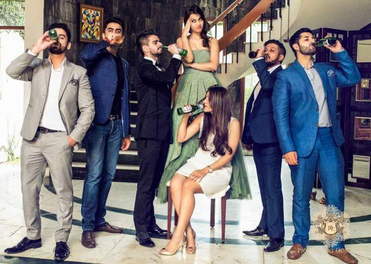 Pre Wedding Shoot in Delhi | Picture Art Company | Light green gown with frills | Kamakshi and Kshitij | Delhi Wedding | Fooling around | fun poses for the pre wedding shoot | Indian pre wedding shoot with friends drinking beer