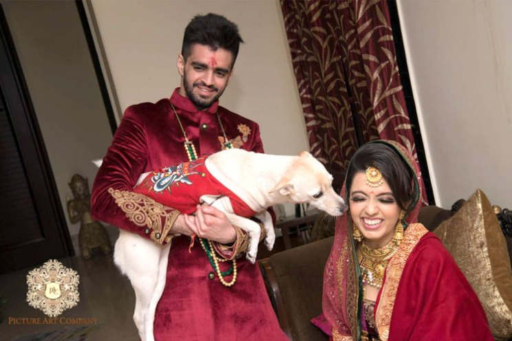 Kamakshi and Kshitij's wedding | Bride and her dog with the groom | pets at Indian weddings