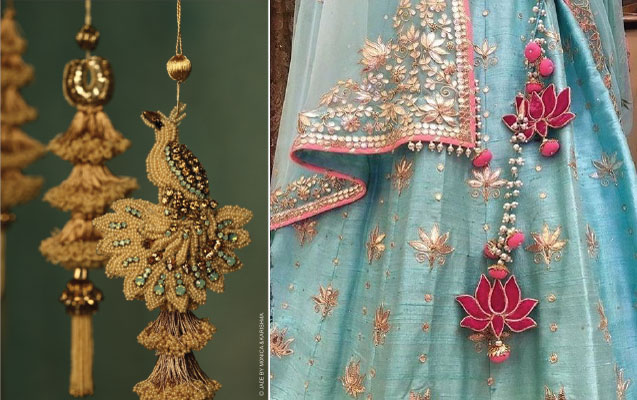 lehenga latkan ideas to spruce up your wedding lehenga | personalised latkans in different shapes | carriage shaped wedding lehenga latkans | Bird latkans by jade by Monika and lotus latkans