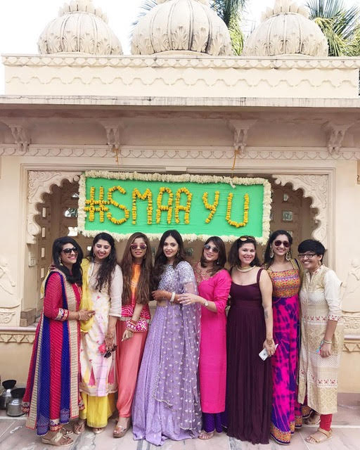 Indian fashion blogger wedding | Aayushi and smaran wedding photos | mehendi ceremony photos | liliac lehenga | royal Indian wedding | Indian bride with her bridesmaids | the style drive blogger wedding