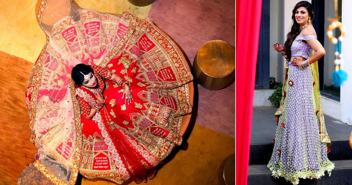 Nindiya Kothari's wedding | Bride with stunning real flower lehengas | Indian bride with stunning red personalised lehengas and real flower purple lehenga