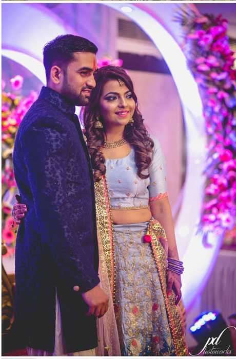 Divya and Balraj | Workplace romance turns in to a cute engagement ceremony | best friend romance | bride in a powder blue ombre lehenag with red and gold embroidery and groom in a blue sherwani with a gold salwarr and pocket square | ring ceremony | coordinated couple outfits