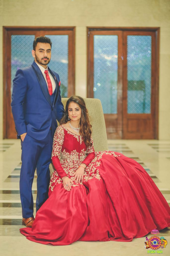 Indian bridal Photos | Delhi Wedding | Kiah and Ron | Indian bride in a maroon and gold gown with the groom in a blue suit with a matching tie