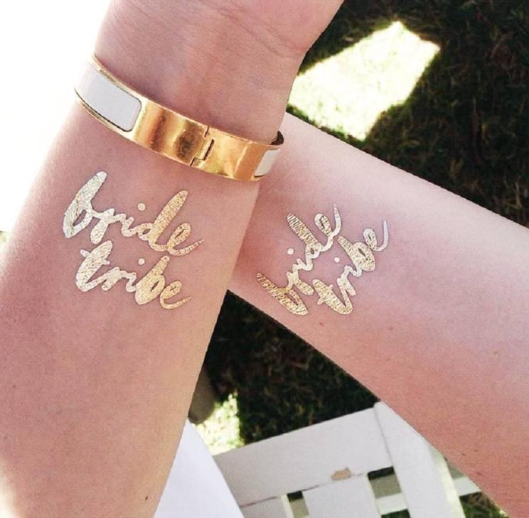 Squad accessories for Indian Weddings | Team bride metallic tattoos that you can use | Ideas for the bride's side bridesmaids | team bride tattoos