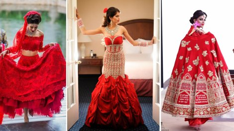 New lehenga styles, Gorgeous lehenga ideas, Unique lehengas | Wedding Nama | NINdiya Kothari with her red lehenga with golden embroidery | Indian bride wearing a lace lehenga