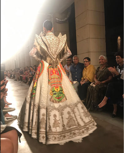 Manav Gangwani | India couture week | ICW 2017 | gorgeous white gown with colourful Kathakali motifs