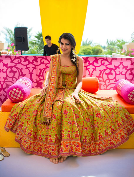 New lehenga styles, Gorgeous lehenga ideas, Unique lehengas | Tarun tahiliani pale green lehenga with red and pink Kashmiri embroidery all over | mehendi lehenga ideas