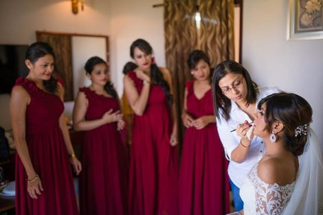Joshua and Shona | Christian wedding | DIY ideas | The bride gets ready while the bridesmaids look.