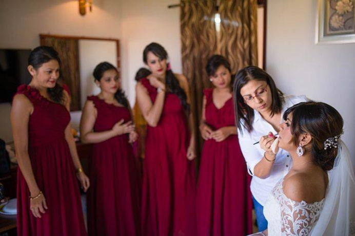 Joshua and Shona   Christian wedding   DIY ideas   The bride gets ready while the bridesmaids look.