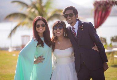 Joshua and Shona   Christian wedding   DIY ideas   The bride nad the groom posing with a friend.