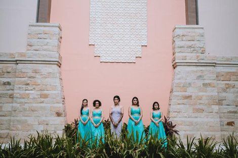Sagar and Subiya | Destination wedding in Bali | The bride posing with her girl gang.