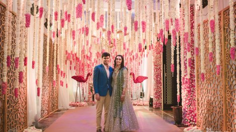 Jaya and Anish engagement | pretty flower decor for a roka in Raipur with pin and white flowers by the wedding designers