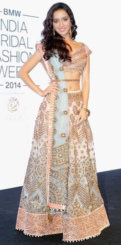 pastel blush lehengas with gold dab detailing paired with a pastel blue dupatta and a waist belt on Shraddha Kapoor | dupatta draping styles for your bridal dupatta