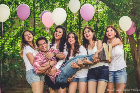 Groom with bride squad| Get clicked with your BFF– Bridesmaid photo shoot Ideas WE LOVED!