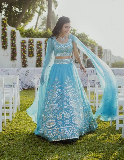 Masoom Minawala in aquatic blue | #Trending & HOW - Choose your bridal Lehenga colour from the HOTTEST colours of 2017!