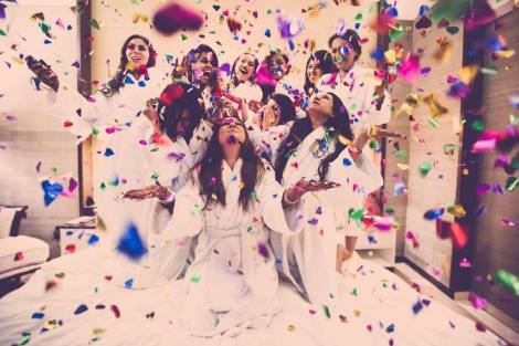 Beautiful bridesmaid shot with confetti| Create memories with your BFF– Bridesmaids photoshoot Ideas WE LOVED!