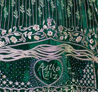 Astha's gorgeous personalised lehenga in green and gold