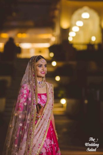 Bride wearing beautiful pink lehenga | #Trending & HOW - Choose your bridal Lehenga colour from the HOTTEST colours of 2017!