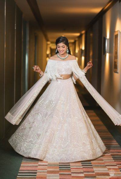 Bride in comfortable outfit