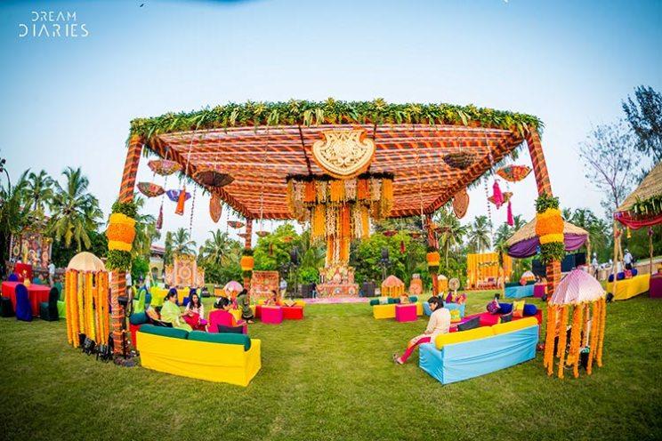 Anchal and Nikhil | super fun Goa Wedding by Crayon entertainment | destination wedding in Goa full of ideas | mehendi Rajasthani carnival theme