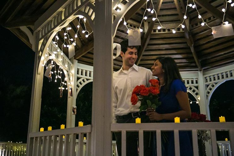 Sneha and Chirag | Super cute real proposal story | lit up gazebo with fairy light s