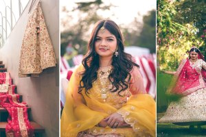 Khushboo and harshang - Gujarati wedding with fun wedding ideas | bride in a yellow gown with a pretty flower background | Indian bride and groom taking a selfie