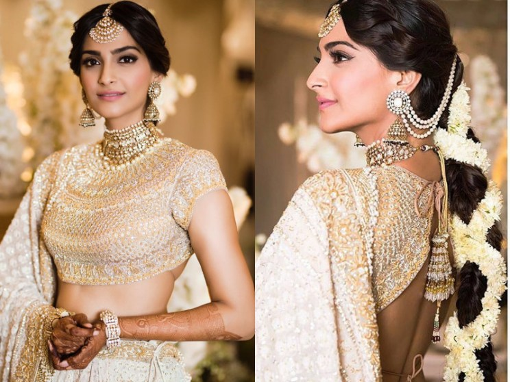 Sonam kapoor wedding | Sonam wearing bajra and pastel ivory and gold Abu Sanddep outfit with gajra
