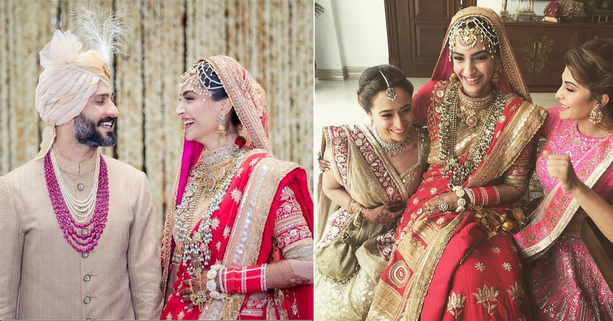 Sonam kapoor wedding | Sonam Kapoor in an Anuradha Vakil red lehengas with gold detailing as she sits with Jaqueline Fernandes
