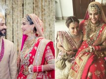 Bollywood Wedding Style you'll have as per Horoscope |} Sonam kapoor wedding | Sonam Kapoor in an Anuradha Vakil red lehengas with gold detailing as she sits with Jaqueline Fernandes