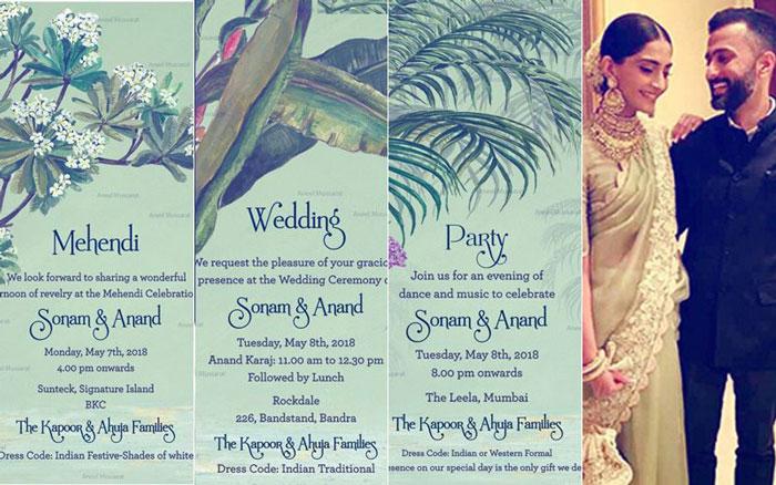 Sonam Kapoor wedding invite | e invite for Sonam kapok's wedding