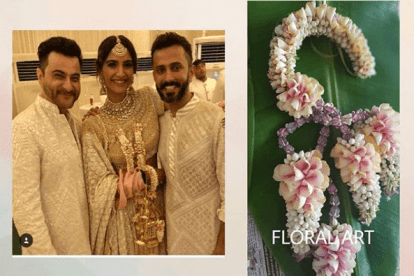 Sonam wearing floral kaleere | Pretty kaleere | Trending kalire for 2019 brides | Floral Kaleere | Flower jewellery | Bridal Accessories
