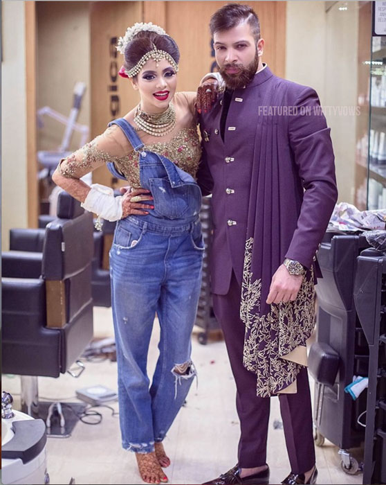 Indian bride with her brothers | Poses for the brother of the bride photos for your wedding | Indian wedding trends 2018 | Sister| mens sherwani in purple | draped sherwani | Bride in dungarees