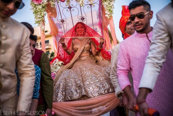 Bride entering on a palki | #JustMaaruThings – Ideas to Celebrate your Teej Function in style