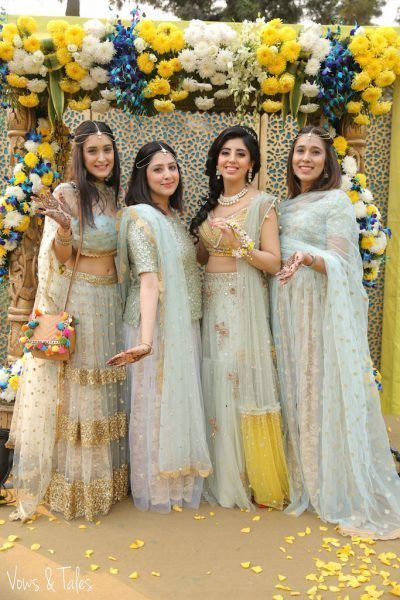 colour coordinated bridesmaids | #JustMaaruThings – Ideas to Celebrate your Teej Function in style