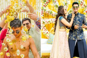 Abheshek & Smily | Chandigarh Weddings | Haldi pictures | Candid photos | Indian wedding rituals | Yellow theme | Haldi decor ideas | Destination weddings | Groom photos | Poses for grooms