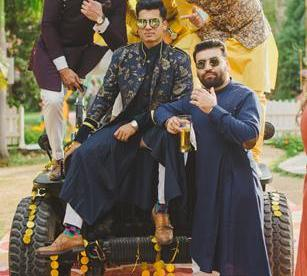 Abheshek & Smily - A Chandigarh Wedding full of fun photo | Sabyasachi Sherwani | Groom photo with friends in nikhil shantanu outfit