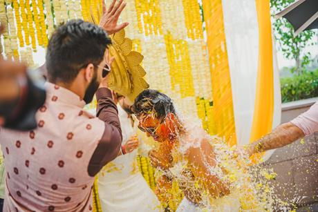 Abheshek & Smily | Chandigarh Weddings | Haldi pictures | Candid wedding pictures | Haldi ceremony | Indian groomsmen | Real Indian weddings | Indian wedding Photography | Yellow decor for haldi |
